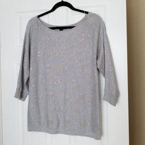 White House Black Market Metallic Circles Sweater
